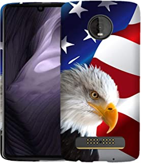 Inkmodo - Designer Hard Case for Moto Z4 Play - Bald Eagle USA American Flag Printed Slim Profile Cute Plastic Snap on Back Cover