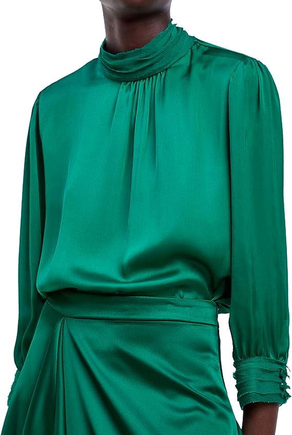 Zara 3564/179 Blusa de Cuello Alto con Acabado Satinado para ...