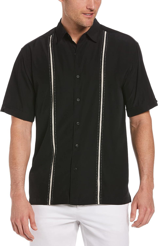 Cubavera Men's Short Sleeve Insert Panels with Pick Stitch Shirt