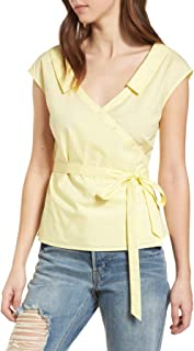 ASTR the label Sleeveless Wrap Top for Women in Pale Yellow, Medium