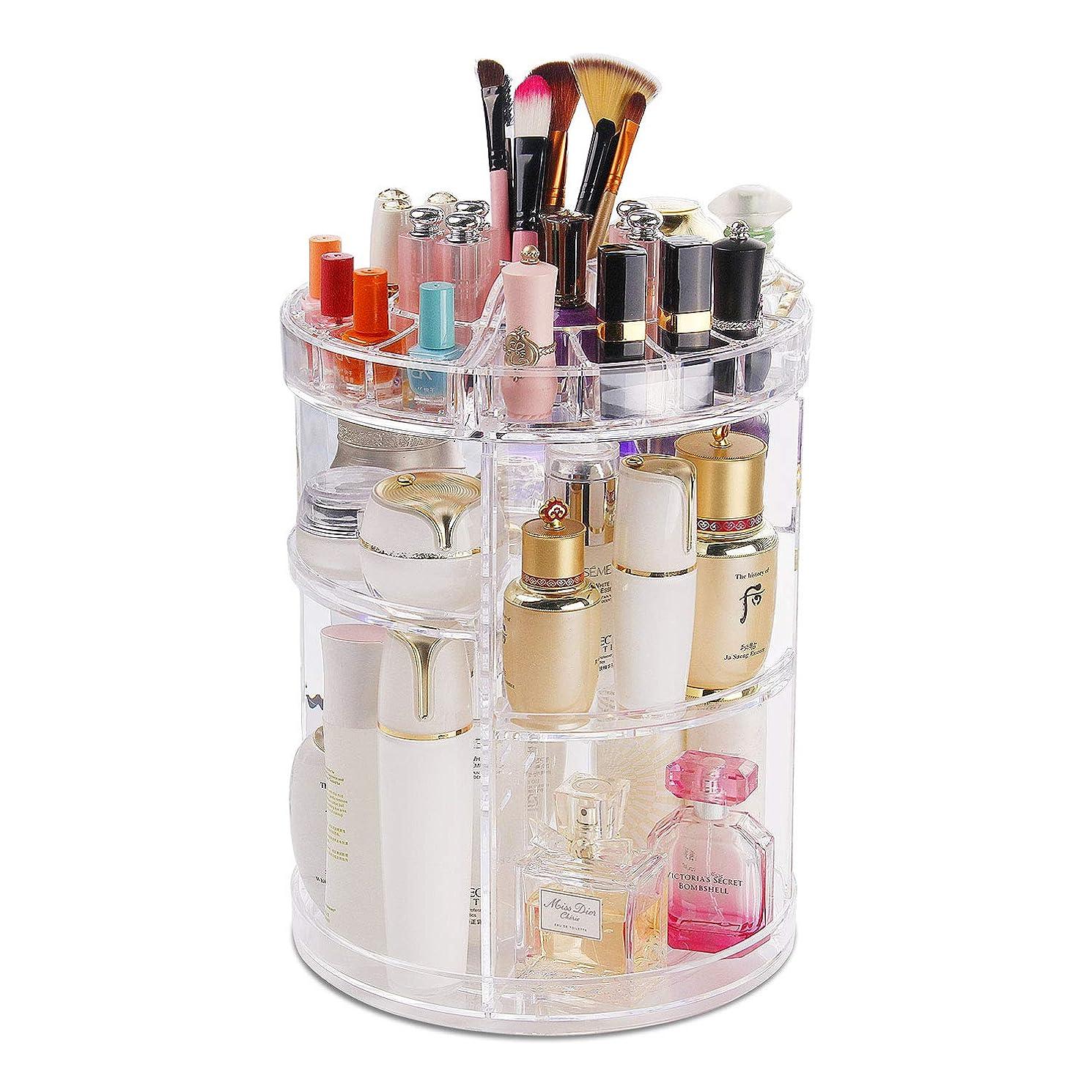 ワイン呼びかける土化粧品収納ボックス コスメボックス 360度回転化粧品収納ラック 大容量透明化粧品ケース メイクボックス 女の子のギフト