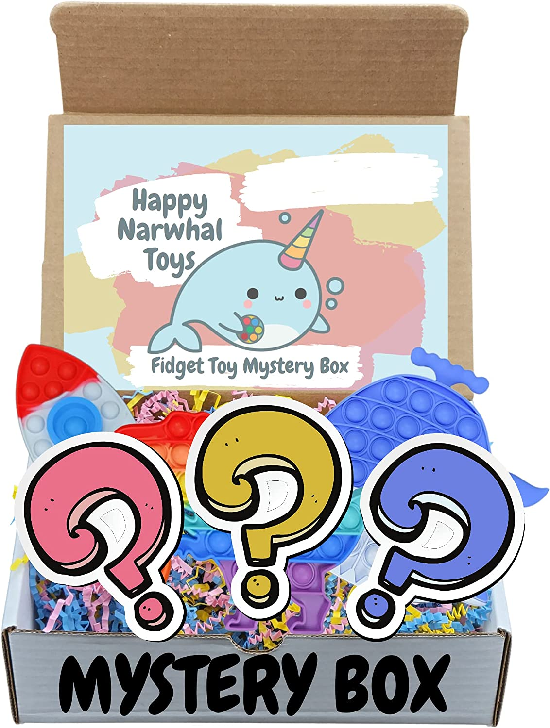 Happy Narwhal Toys Fidget Toy Mystery Surprise Blind Box (3 Toys per Box) | Push Pop Dimple Sensory Fidget Toys Regular Size | Surprise Gift in Every Box | Variety Blind Box