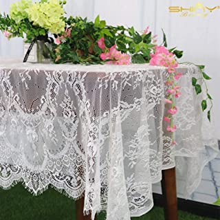 ShinyBeauty Lace-Tablecloth-Rectangular 60x120-Inch Lace Table Cloth 2 Pack Floral Lace Tablecloth White Vintage Table Cover Floral Overlay Tablecloth Rustic Party Tablecloth (2, 005-White)