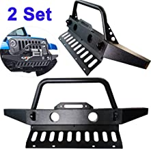 TTX LIGHTING 2 PCS Textured Black Off Road Front Bumper W/Skid Plate & Winch Plate & 2 D-Rings & Fog Light Hole for 2007-2018 Jeep Wrangler JK