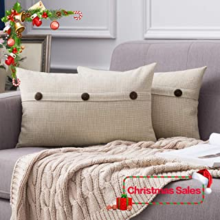 MIULEE Set of 2 Christmas Decorative Linen Throw Pillow Covers Cushion Case Triple Button Vintage Farmhouse Pillowcase for Couch Sofa Bed 12 x 20 Inch 30 x 50 cm Beige