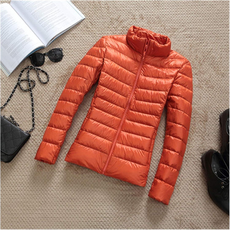 Women's Down Jackets Women Winter Ultra Light 90% White Duck Down Jacket Fashion Casual Female Outerwear Plus Size Waterproof Warm Hooded Coat Parka (Color : Orange Stand collar, Size : 4XL)