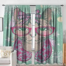 Sillgt Cat Bedroom Curtains Fashion Cat in Hipster Glasses and Lace Collarette Bow Vintage Humorous Graphic Machine Washable W 96