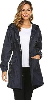 Womens Rain Coat Lightweight Hooded Long Raincoat Outdoor Breathable Rain Jackets