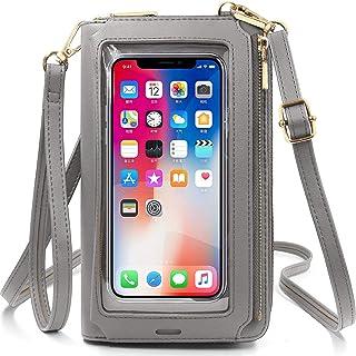 ReeTee Damen Handy Umhängetasche PU Leder RFID Schutz Geldbörse Damen Handytasche zum Umhängen Touchscreen Handy Schultert...