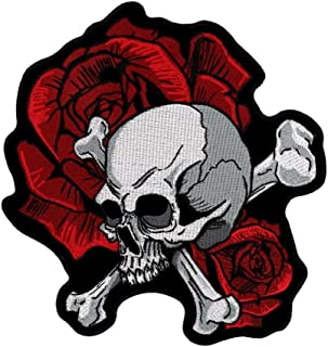 Skull & Crossbones Red Roses Embroidered Biker Patch Iron or Sew HLPM4866