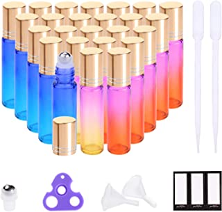 Essential Oil Roller Bottles 10ml (Rainbow Glass with Golden Caps, 24 Pack, 4 Extra Stainless Steel Roller Balls, 48 Labels, 2 Openers, 2 Funnels by PrettyCare) Roller Balls for Essential Oils