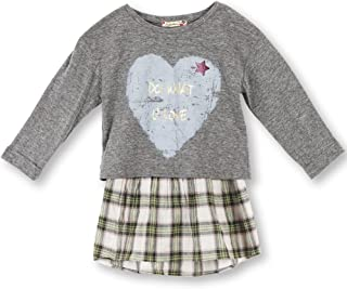 Girls' Big Young and Free 2 Piece Roll Sleeve Tee with Plaid Babydoll