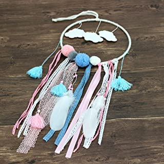 Malicosmile Dream Catchers for Kids, Boho Dream Catcher for Girls Bedroom Wall Hanging Decorations Party Wedding Decor, Tassel Dreamcatcher with Clouds Design