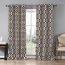 Blackout365 Ashmont Heavy Geometric Insulated Blackout Room Darkening Window Curtain Set of 2 Panels, W38 X L84, Brown