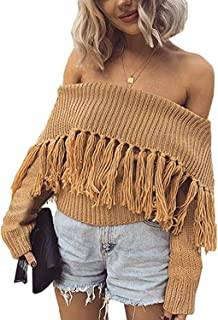 BBYES Womens Sexy Off the Shoulder Long Sleeve Slim Fit Fringe Knit Crop Sweater
