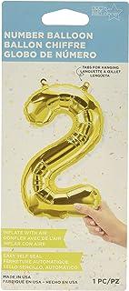 "Northstar Foil Balloon 00559 Number 2, 16"", Gold"