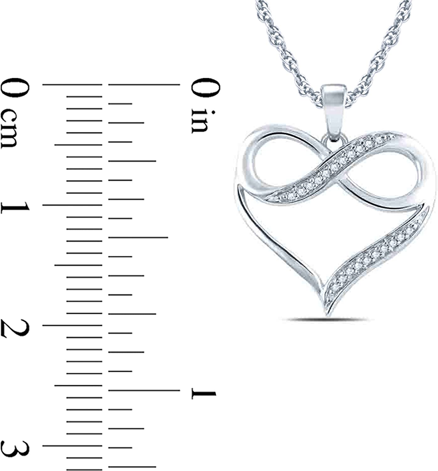 1 20 cttw Diamond Accent InfInity Heart Pendant Necklace in Sterling Silver. (IJ, I2I3) 18