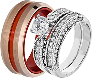 His & Hers Wedding Ring Sets White Stainless Steel Round CZ Red Plated Tungsten Men CO