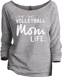 Livin' That Volleyball Mom Life Women's Fashion Slouchy 3/4 Sleeves Raglan Sweatshirt Sport Grey
