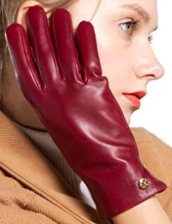 LIBO First Grade Super Soft Leather Gloves for Women Noble and Elegant Cashmere Lining