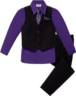 OLIVIA KOO Baby and Big Boy's 4 Piece Pinstripe Vest Suit Set (Size S to 20)