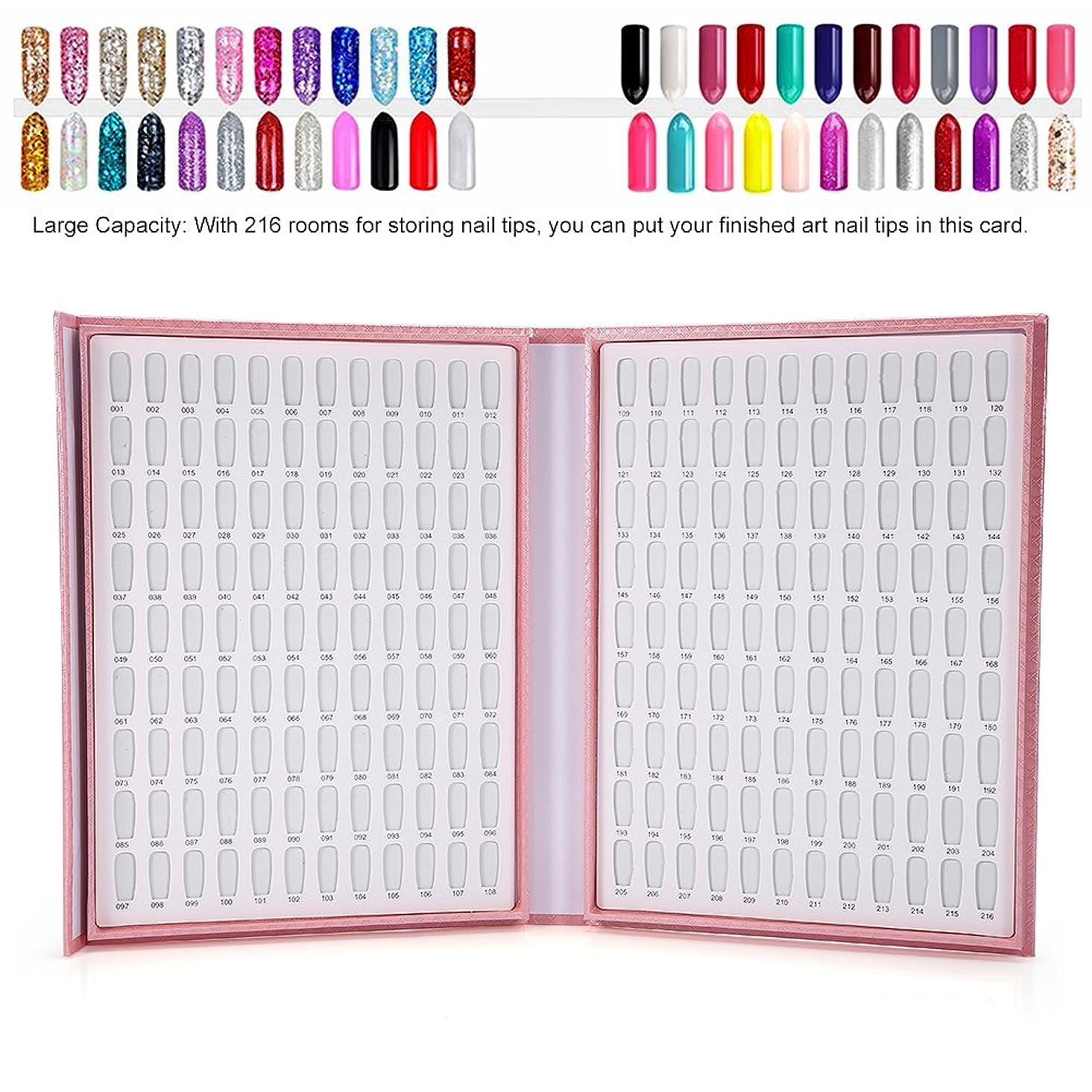バー複製するローン216色ネイルジェルカラーカードネイルポリッシュ表示図書ネイルアート陳列棚(ピンク)