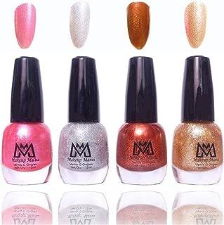Makeup Mania Premium Nail Polish Fine Zari Nail Paint Combo (Pink, Silver, Brown, Golden, Pack of 4)