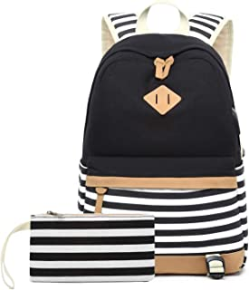Neuleben Rucksack 2 Set Schulrucksack & Geldbeutel mit Streifenmuster USB Port für Jungen Mädchen Teenager Schulranzen Schultasche 2020 Update Schwarz