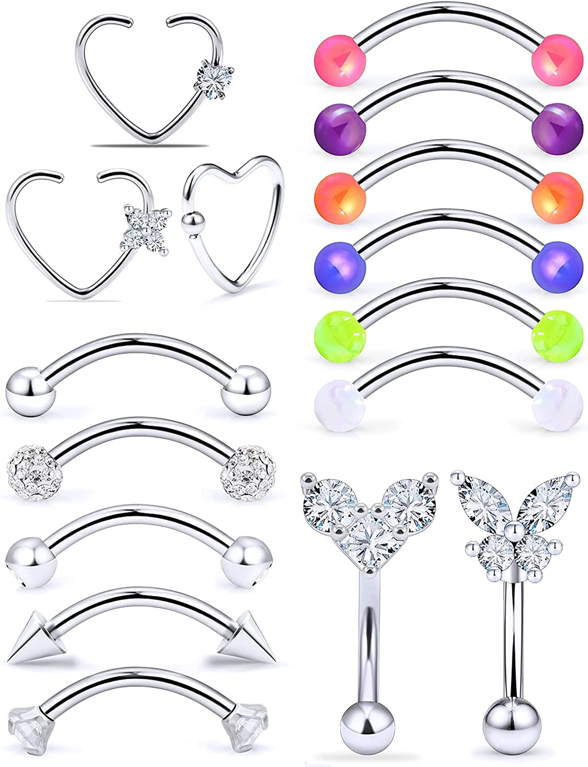Leiainely Rook Piercing Jewelry Daith Piercing Jewelry Eyebrow Rings Daith Jewelry Surface Tragus Piercing Jewelry Eyebrow Piercing Jewelry Rook Earrings Vertical Labret Lip Jewelry Eyebrow Jewelry