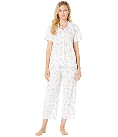 Carole Hochman Cotton Jersey Short Sleeve Top Capri Pants Pajama Set (White Multi Floral) Women