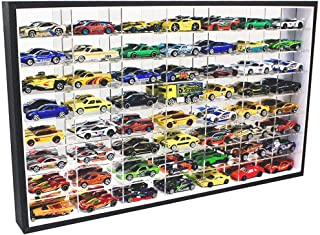 1:64 Scale Toy Cars Matchbox Wheels Diecast Display Case Wall Cabinet Rack 56 Compartment Hot-HW60 (Black Frame, No Door)