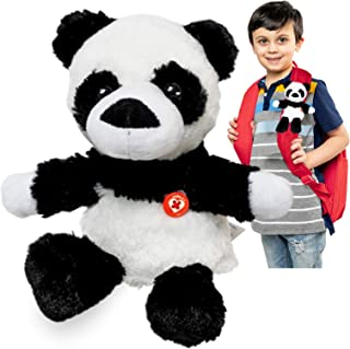 GoPals Stuffed Animal Plush Toy - Clip on to Backpack, car seat Belt, Bike and Scooters. Best Gifts for Kids. (Hadley The Panda)