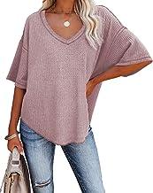 Albe Rita Women Half Sleeve V Neck Shirt Batwing Sleeve Blouse Loose Tops