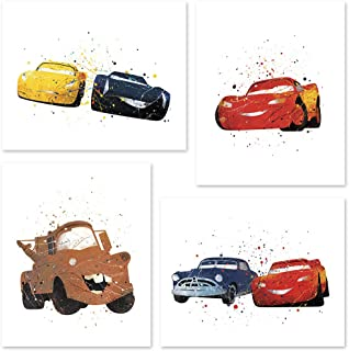 PGbureau Cars Movie Poster Inspired Watercolor Wall Art Prints for boys and girls - Cars 1 2 3 Art Set of 4 Decor Painting Paper - Lightning Mcqueen - Sally 8x10 by