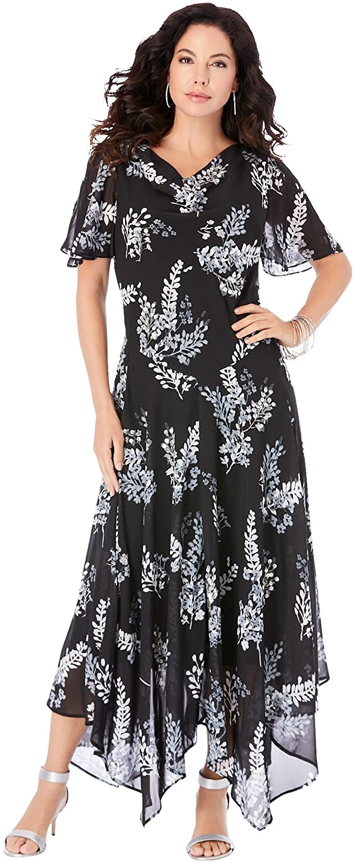 Roaman's Women's Plus Size Floral Beaded Dress
