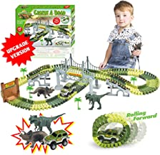 TTOUADY Dinosaur Toys Train Race Car Track Sets, Bridge Create A Road 2 Large Dinosaurs, Learning Toys for 3 4 5 6 7 8 Years Old Boys Girls Kids Toddlers(142 Track Pieces)