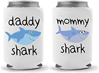 Mommy Daddy Shark Collapsible Neoprene Can Coolies - Insulated Neoprene Can Coolie Huggie Hugger - Funny Party Beer Holders 12oz|16oz (Combo Sharks)
