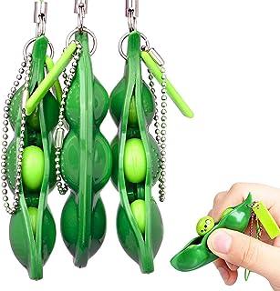 Rmeet Porte-clef,3 Pack Écraser un Porte-clés Presser un Haricot Squishy Soya pour Enfants Adluts Jouets de Pois Fidget To...