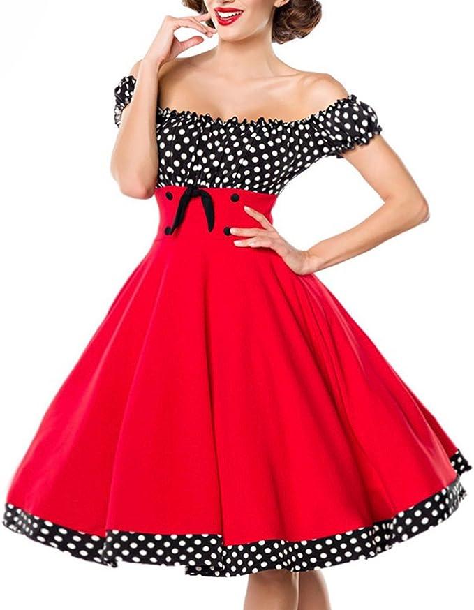 Belsira Schulterfreies Swing Kleid Frauen Mittellanges Kleid Schwarz Weiss Amazon De Bekleidung