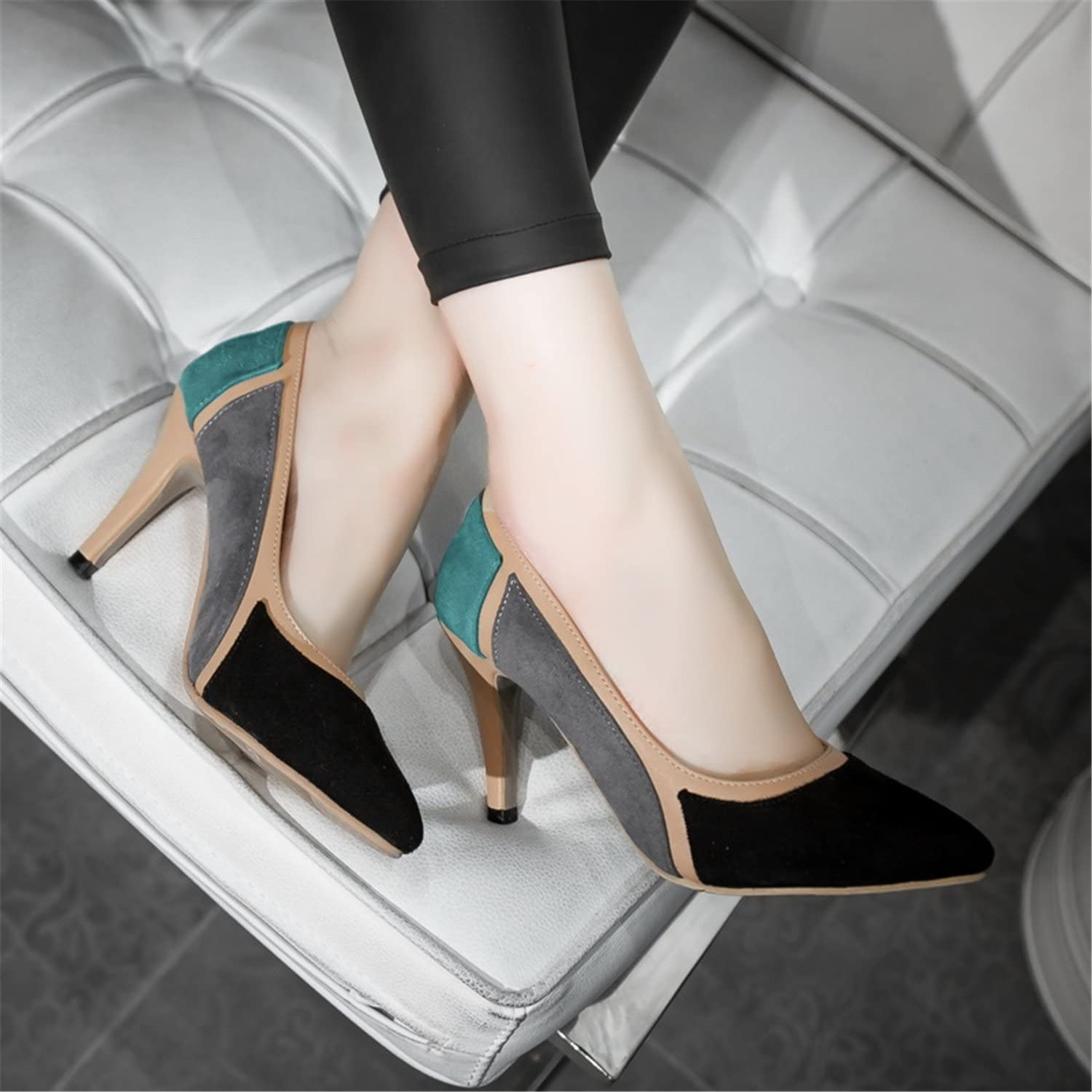 Ivan Johns Suede Black bluee Mix color Pointed Toe Thin High Heels Woman shoes Summer Cut-Outs Wedding Female