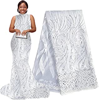 pqdaysun 5 Yards African Net Lace Fabrics Nigerian French Fabric Embroidered and Rhinestones Guipure Cord Lace F50378 (White)
