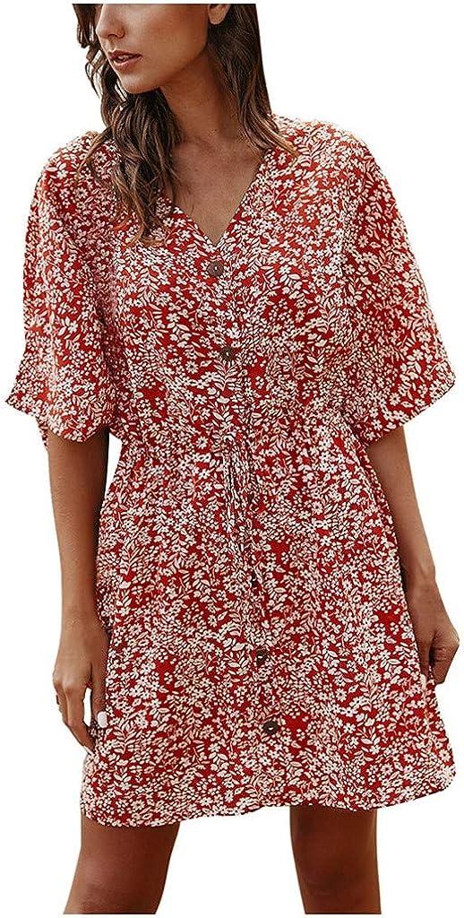 Masbird Dresses for Women,Womens Dresses V Neck Polka Dot Ruffles Mini Sexy Dress Short Sleeve Summer Dresses with Button