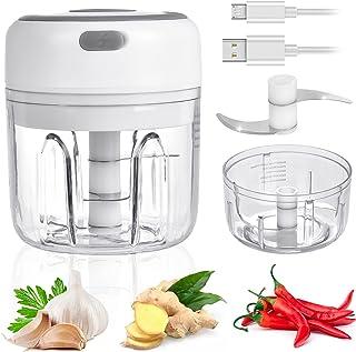 WZTO Mini Électrique Robot Culinaire, 250ML&100ML Presse Ail Electrique Sans Fil, Cuisine Hachoir à Électrique avec Lame d...