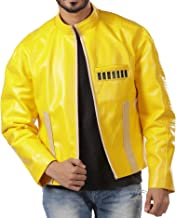 Halloween Costume Mens Yellow Leather Jacket Cafe Racer Jacket for Men's Biker Leather Jacket