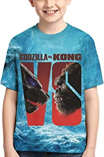Fadwud Godzilla vs Kong T-Shirt 3D Printed Short-Sleeved Tops Tee Boys and Girls Tee Shirts
