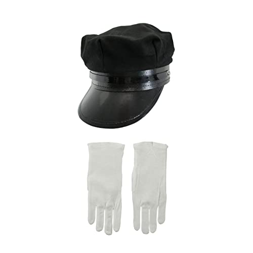 c67f11e8c487c Nicky Bigs Novelties Black Chauffeur Chauffer Hat White Gloves Police  Officer Limo Driver Cap Costume