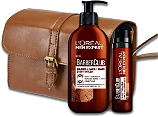 L'Oreal Paris Men Expert Barber Club Men's Grooming Kit, Beard + Face + Hair, 3-In-1 Wash, 200ml with Short Beard and Face Moisturiser, 50ml
