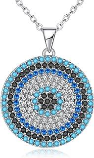 Kaletine mauvais /œil Argent sterling Pendentif Collier ras du cou avec Oxyde de Zirconium Strass Charme et cha/îne de c/âble r/églable de 40,6/cm Rallonge de 5,1/cm