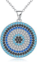 Kaletine Round Blue Evil Eye Pendant Necklace Sterling Silver 925 Cubic Zirconia Turquoise 16