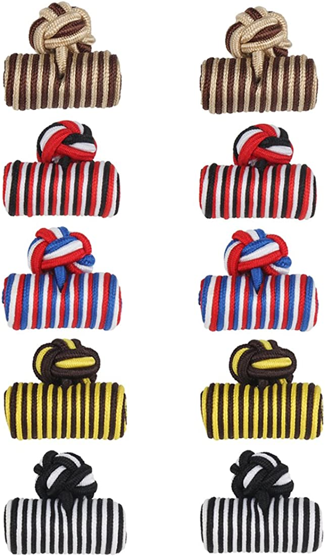 Vintage Cuff Links Silk Knot Cufflinks Gift Set for Wedding Business 5 Pairs CSXK-01 (Style 3164)